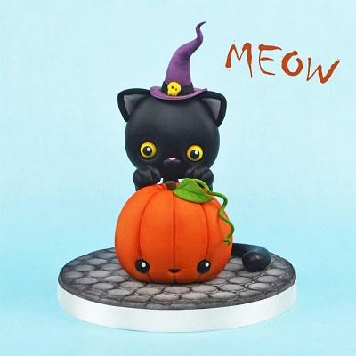 Halloween Cat and a Pumpkin
