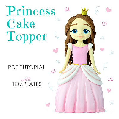 Princess Cake Topper PDF Tutorial with TEMPLATES