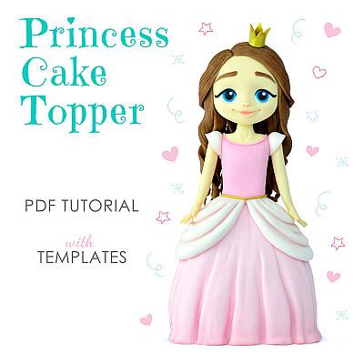 Princess Cake Topper PDF Tutorial with TEMPLATES