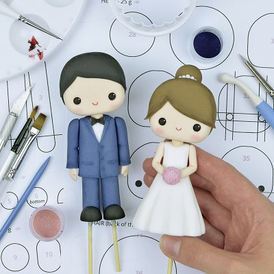Cute Wedding Couple - PDF Cake Topper TUTORIAL with TEMPLATES