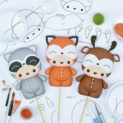 Woodland Friends - PDF Cake Topper TUTORIAL with TEMPLATES