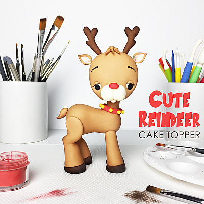Cute Reindeer Cake Topper