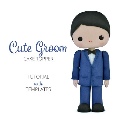 Cute Groom - Cake Topper TUTORIAL with TEMPLATES