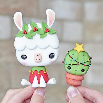 Christmas Llama and Cactus