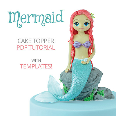 Mermaid Cake Topper - PDF Tutorial with TEMPLATES