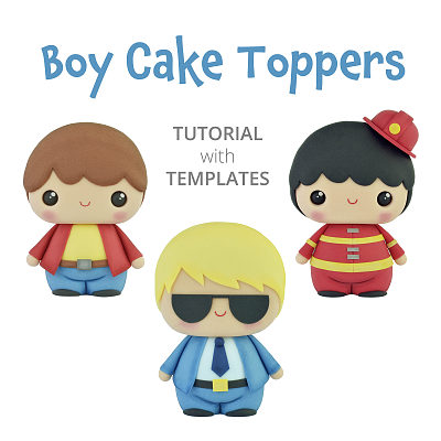 Boy Cake Toppers - TUTORIAL with TEMPLATES
