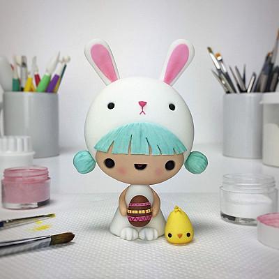 Little Girl in Easter Bunny Costume