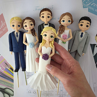 Bride & Groom Cake Toppers PDF Tutorial with TEMPLATES