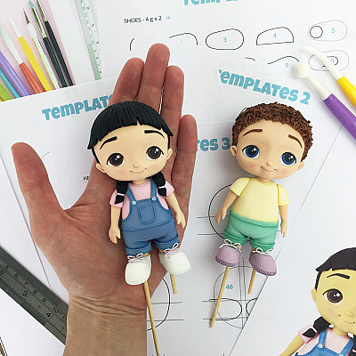 Girl & Boy - Cake Topper PDF Tutorial with TEMPLATES