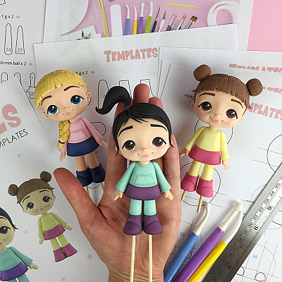 Cute Girls - Cake Topper PDF Tutorial with TEMPLATES