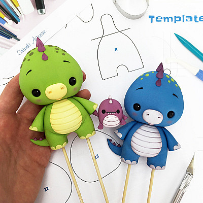 Baby Dino Cake Topper - PDF tutorial with TEMPLATES