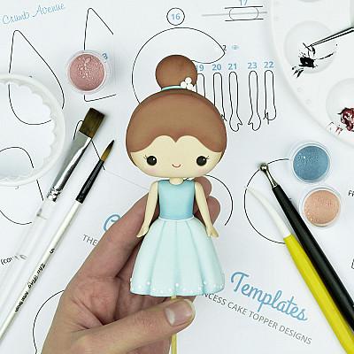 Cute Princess - PDF Cake Topper TUTORIAL with TEMPLATES
