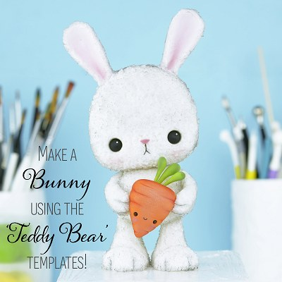 How to Make a Bunny Cake Topper using the 'Teddy Bear' Templates